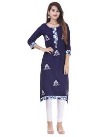 Women Embroidered Straight Kurta  (Blue)