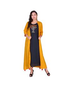 Women's Embellished A-line Kurta  (Blue, Yellow)