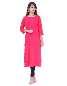 Women's Solid Straight Kurta  (Red)