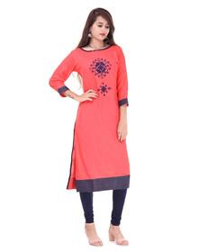 Women's Embroidered Straight Kurta  (Red)