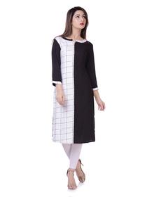 Women's Checkered Straight Kurta  (White, Black)