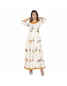 Ekswapan Rayon Slab Kurti For Women With Rajasthani Print