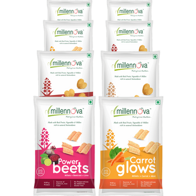 ASSORTED COMBO MILLENNOVA FOODS Multi Millet Snacks - POWER BEETS & CARROT GLOWS-1017