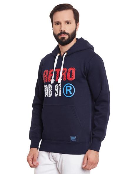 Men  Fleece Printed Hooded Sweatshirt-S-2