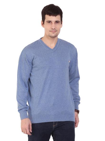 TAB91 Mens Blue Solid V Neck Pullover-26-S