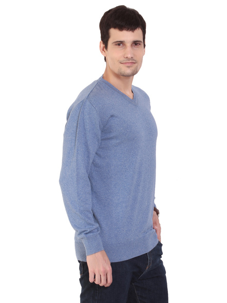 TAB91 Mens Blue Solid V Neck Pullover-S-2