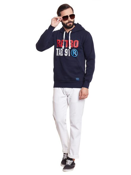 Men  Fleece Printed Hooded Sweatshirt-M-1