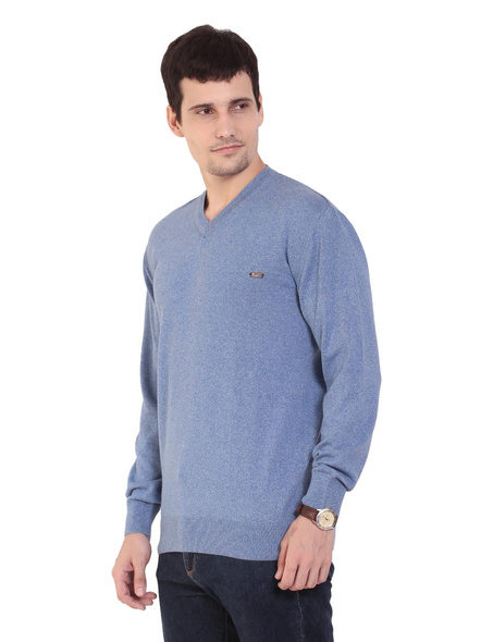 TAB91 Mens Blue Solid V Neck Pullover-M-1