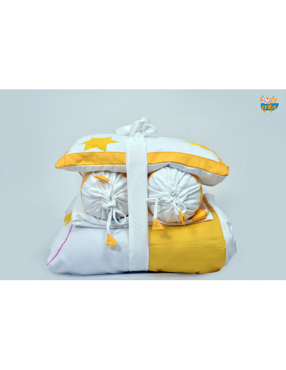 Baby Bedding  5 pieces set White-Yellow  With pillow-1