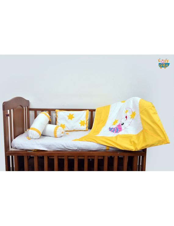 Baby Bedding  5 pieces set White-Yellow  With pillow-5P0045A-WP