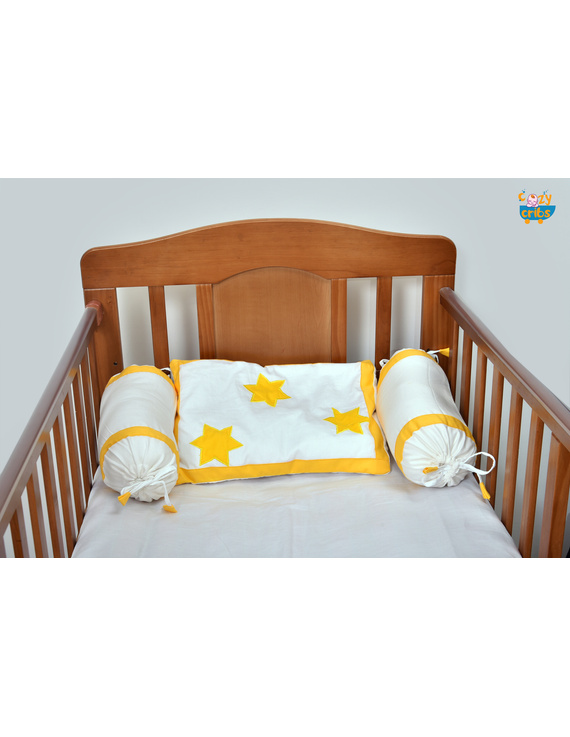 Baby Bedding  5 pieces set White-Yellow  With pillow-2