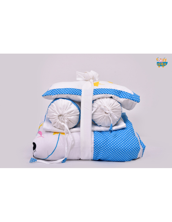 Baby Bedding  5 pieces set White-Blue  With pillow-1