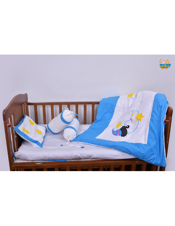 Baby Bedding  5 pieces set White-Blue  With pillow-5P0045B-WP