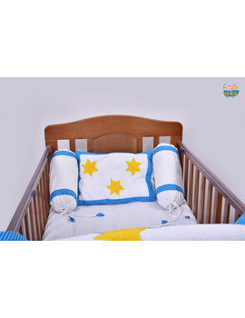 Baby Bedding  5 pieces set White-Blue  With pillow-2-sm