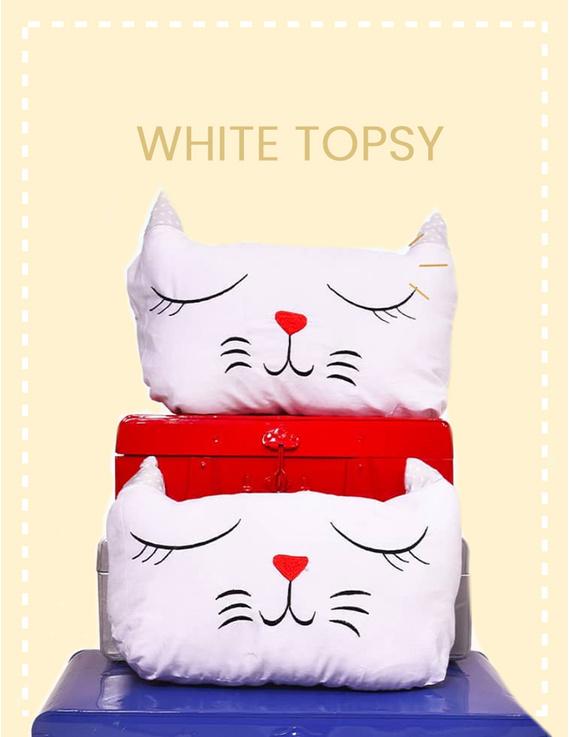 White Topsy Cushion-CS0021