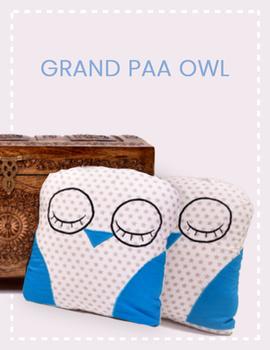 Grand paa Owl Cushion (Custom) Pack of : 1 Piece-CS0022CUS-sm