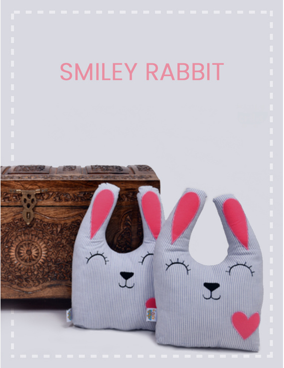 Smiley Rabbit Cushion-CS0011