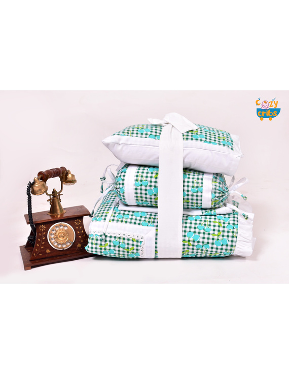 Baby Bedding  5 pieces set Blue Grappie  With pillow-5P0034