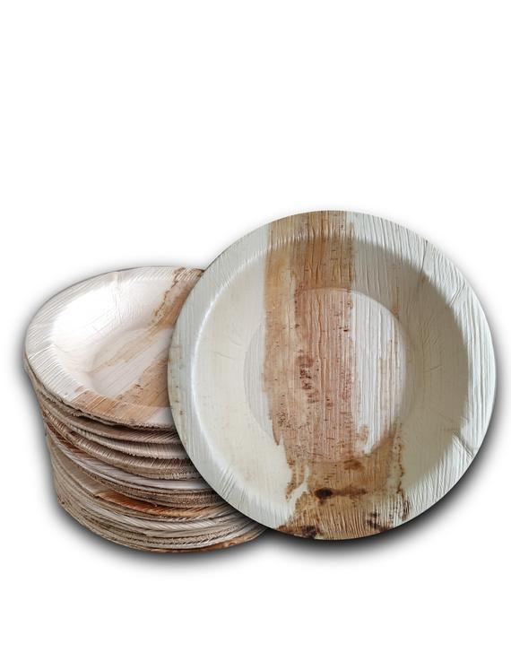 6 Inch Round Deep Areca Leaf Plates-P6DR-D