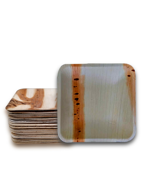 6 Inch Square Shallow Areca Leaf Plates-P6SS-D