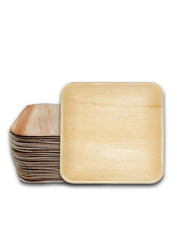 8 Inch Square Shallow Areca Leaf Plates-P8SS-D