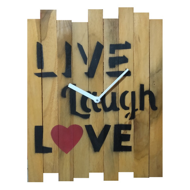 LIVE LAUGH LOVE 10x8 inches handpainted and handcrafted wooden wall clock.-7426965624113