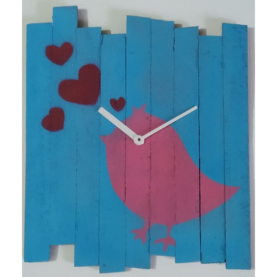 BIRDY 10x8 inches handpainted and handcrafted wooden wall clock.-7426965624069