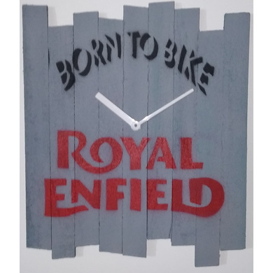 BORN TO BIKE ROYAL ENFILED 10x8 inches handpainted and handcrafted wooden wall clock.-804056339868