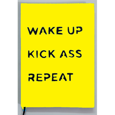 WAKE UP KICK ASS REPEAT HANDPAINTED (NOT PRINTED) A5 NOTEBOOK / DIARY / NOTEPAD (75GSM / 60 PAGES EA-7426965624175