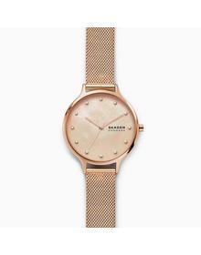 Anita Mother-of-Pearl Rose-Tone Steel-Mesh Watch