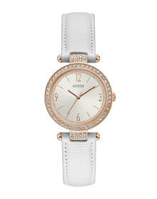 Ladies Rose Gold Tone Case White Genuine Leather Watch