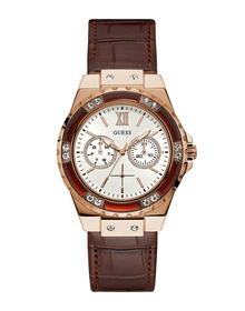 Ladies Rose Gold Tone Case Brown Genuine Leather Watch