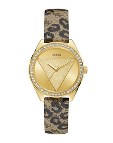 Ladies Gold Tone Case Animal Print Genuine Leather Watch