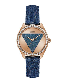 Ladies Rose Gold Tone Case Blue Genuine Leather Watch