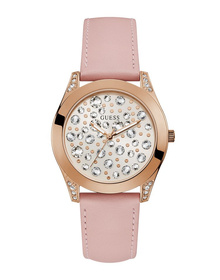 Ladies Rose Gold Tone Case Pink Genuine Leather Watch
