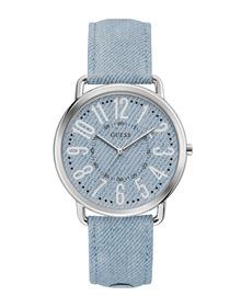 Ladies Silver Tone Case Blue Genuine Leather Watch