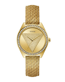 Ladies Gold Tone Case Gold Tone Genuine Leather Watch
