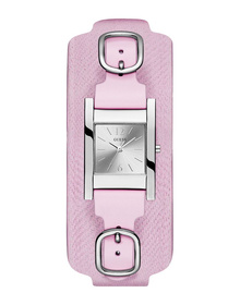 Ladies Silver Tone Case Pink Genuine Leather Watch