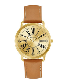 Ladies Gold Tone Case Tan Genuine Leather Watch