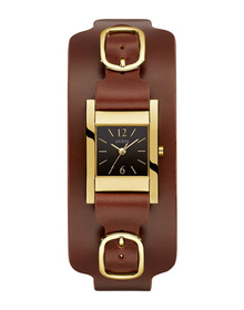 Ladies Gold Tone Case Brown Genuine Leather Watch