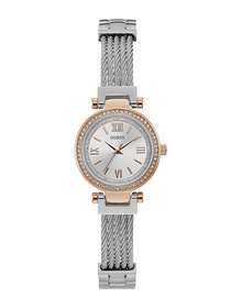 Ladies Rose Gold Tone Case Silver Tone Stainless Steel Watch