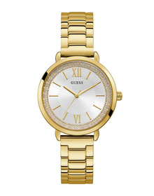 Ladies Gold Tone Case Gold Tone Stainless Steel Watch