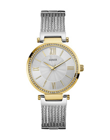 Ladies Gold Tone Case Silver Tone Stainless Steel Watch