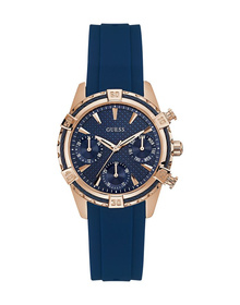 Ladies Rose Gold Tone Case Blue Silicone Watch