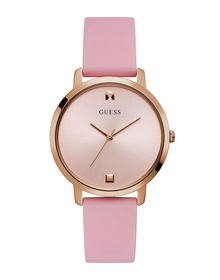 Ladies Rose Gold Tone Case Pink Silicone Watch