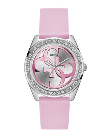 Ladies Silver Tone Case Pink Silicone Watch