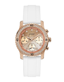 Ladies Rose Gold Tone Case White Silicone Watch