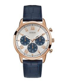 Gents Rose Gold Tone Case Blue Genuine Leather Watch