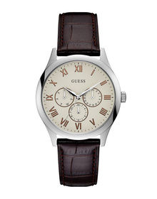 Gents Silver Tone Case Brown Genuine Leather Watch