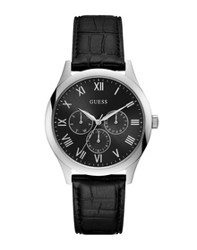 Gents Silver Tone Case Black Genuine Leather Watch